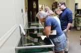 Director Evan board with exhibit of early printed books and pamphlets from Lancaster county, 1743-1805.